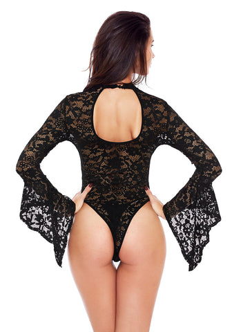 Sheer Floral Lace Long Bell Sleeve Bodysuit(LC32158-2-3)