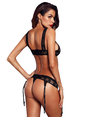 Image of Seductive Lace Bralette Garter Set(LC43011-2-2)