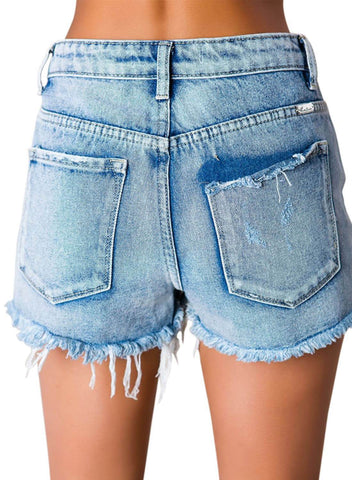 Image of High Waisted Distressed Denim Shorts (LC786124-4-2)
