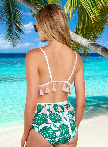Tropical Print High Waist Bikini