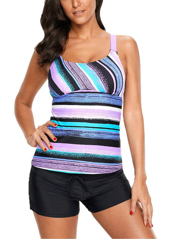 Image of Strappy Racerback Printed Tankini Tops Without Bottoms 410605
