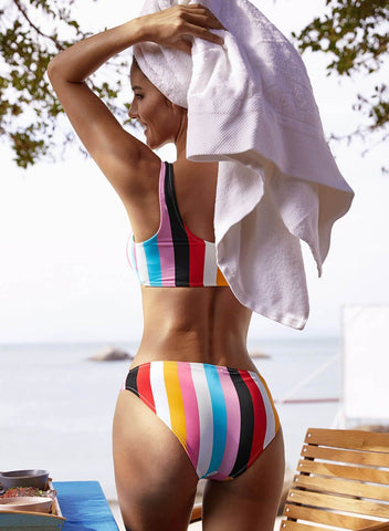 Multicolor Striped Tie Front Detail Bikini Swimsuit