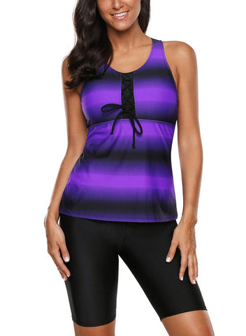 Image of Racerback Tankini Swimsuits with Swim Capris