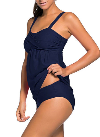 Image of 2pcs Ruched Tankini Swimsuit