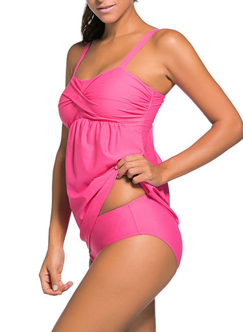 2pcs Ruched Tankini Swimsuit