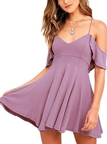 Image of Ruffled Cold Shoulder Backless Skater Dress