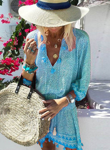 Image of Boho Tassel Cover up Dress