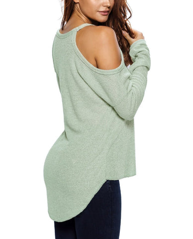 Cold Shoulder Knit Long Sleeves Sweater