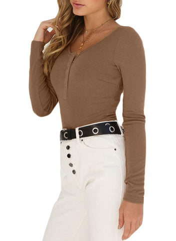 Long Sleeve Button Front Bodysuit(LC32302-2-1)