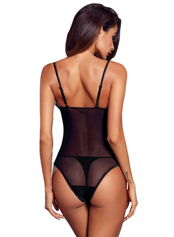 Lace Mesh Bodysuit Push up Teddy Lingerie(LC32231-2-2)