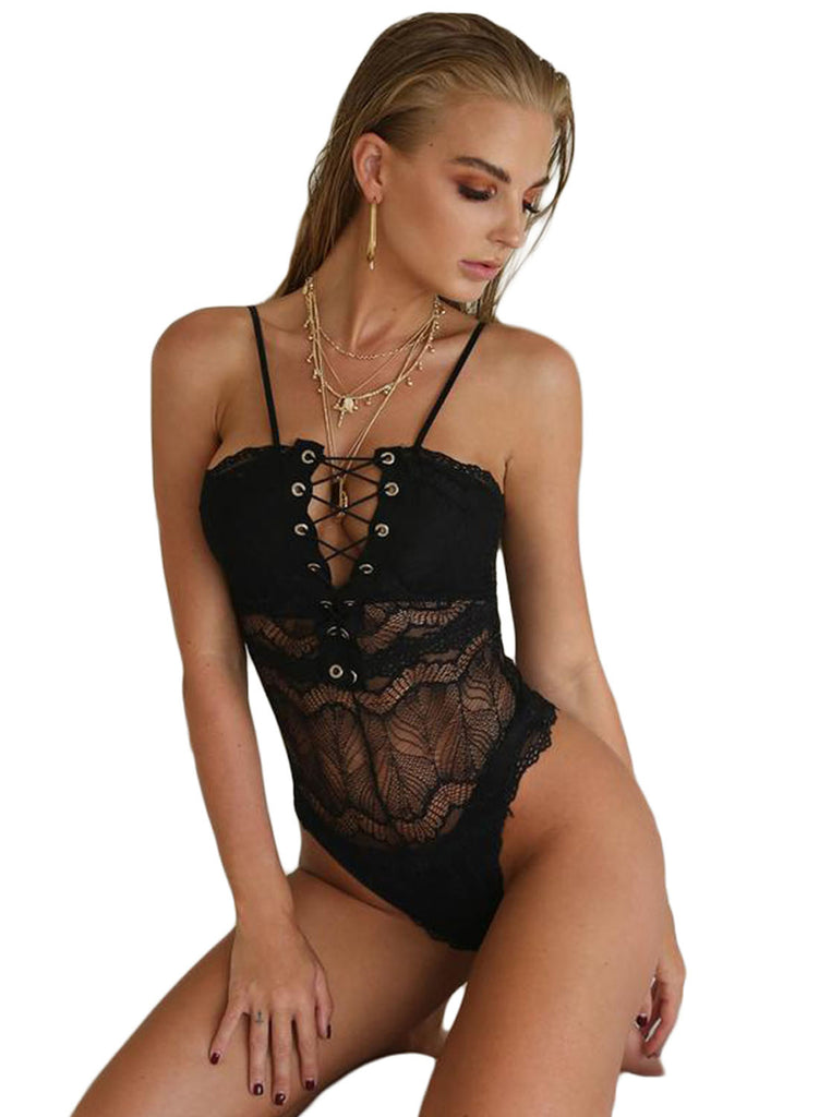 Lace-up Front Lace Bodysuit(LC32246-2-2)