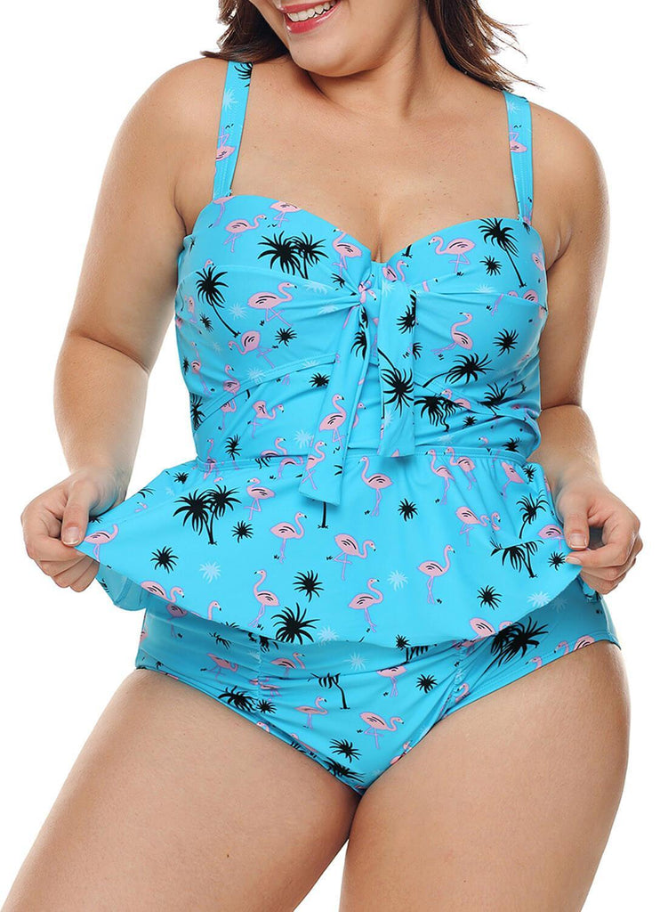 Ruffled Floral 2pcs Underwire Tankini Set (LC410736-4-3)