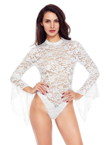 Sheer Floral Lace Long Bell Sleeve Bodysuit(LC32158-1-1)