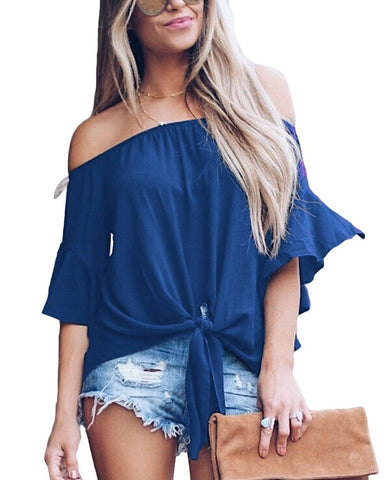 Image of Blue Off The Shoulder Knot Front Top