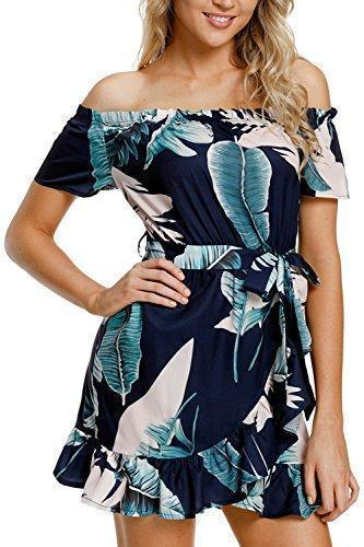Off Shoulder Fuffle Hem Tied Dress