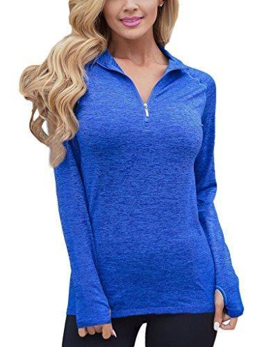 Womens Long Sleeve Zip Front Running Yoga Sports Tops
