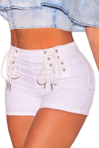Image of White Denim Double Lace Up Hot Shorts