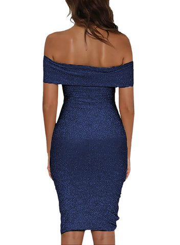 Image of Shiny Sexy Off Shoulder Bodycon Dress