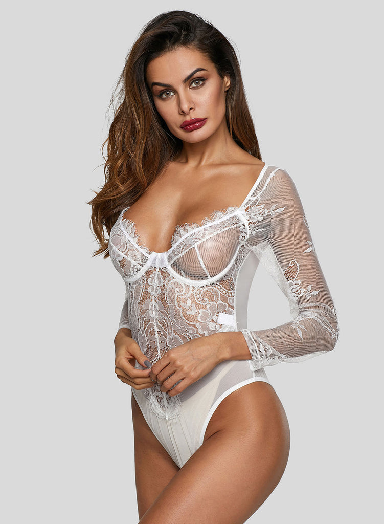 Long Sleeve Underwire Lace Bodysuit(LC32299-1-2)
