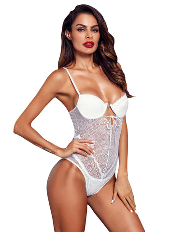 Image of Designful Underwire Lace Mesh Bodysuit(LC32260-1-2)