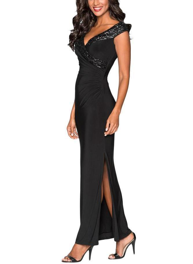 Black Sequin Wrap V Neckline Long Evening Dress