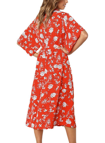 Image of Boho Floral Knot Front Kimono Dress (LC610140-3-2)