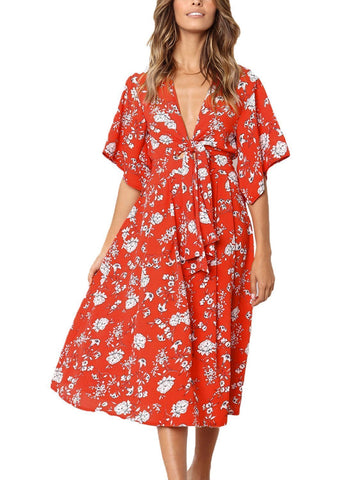 Image of Boho Floral Knot Front Kimono Dress (LC610140-3-1)