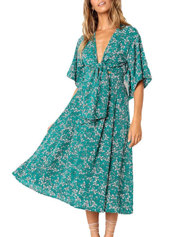 Image of Boho Floral Knot Front Kimono Dress (LC610140-9-1)