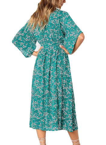 Image of Boho Floral Knot Front Kimono Dress (LC610140-9-2)
