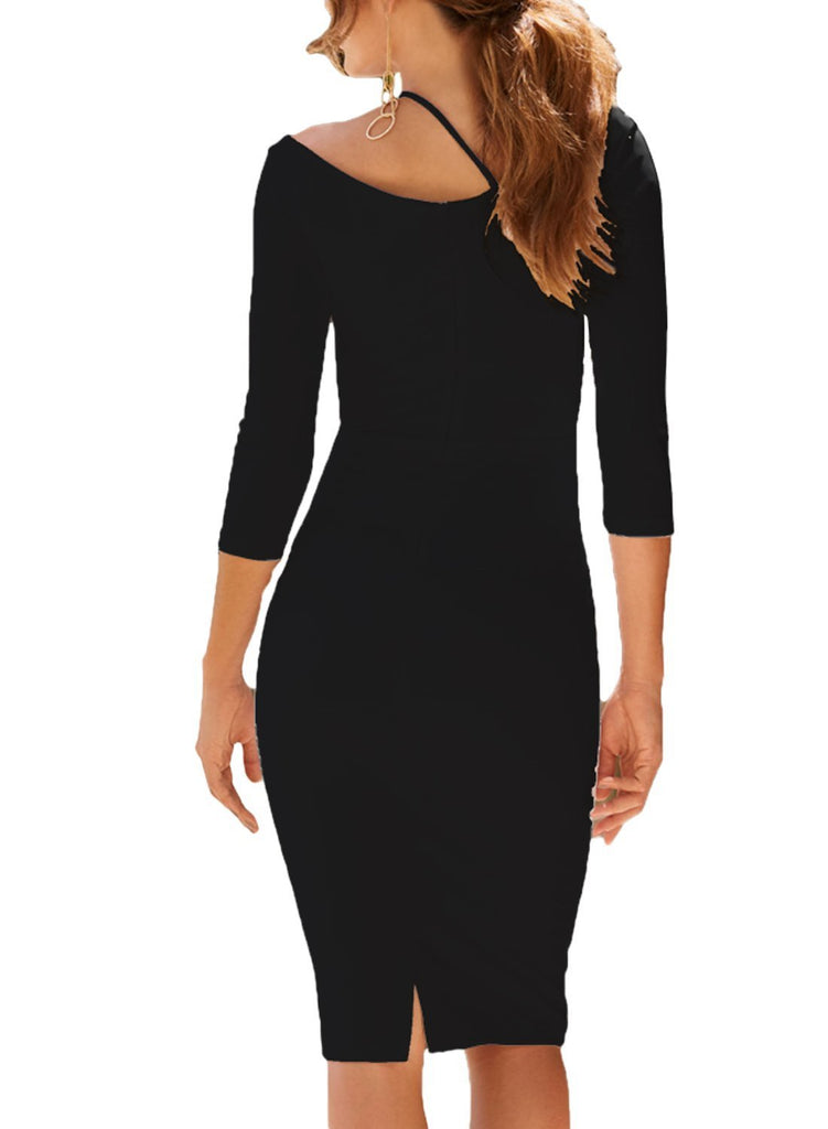Asymmetric Cutout Shoulder Bodycon Midi Dress