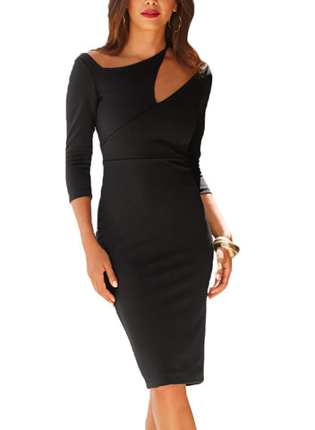 Image of Asymmetric Cutout Shoulder Bodycon Midi Dress