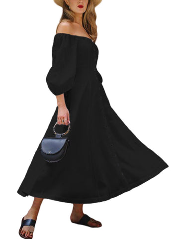 Image of Off Shoulder Puff Sleeve Button Vintage Dress