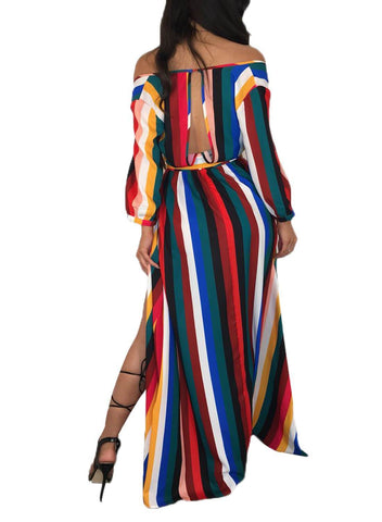 Image of Striped Off Shoulder Belted Maxi Jumpsuit