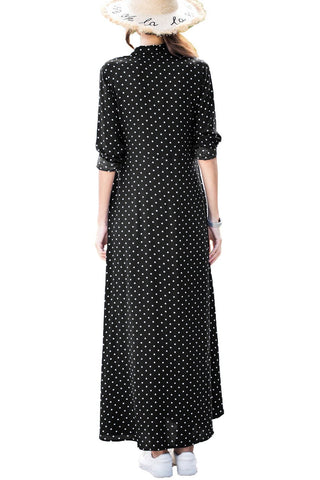 Polka Dot Button Down Maxi Shirt Dress