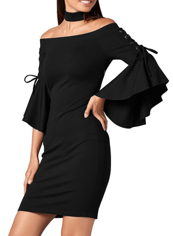 Image of Bell Sleeve Bodycon Choker Dress