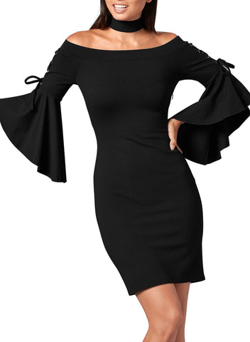 Bell Sleeve Bodycon Choker Dress