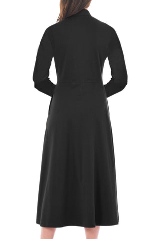 Image of Side Button Mandarin Collar A-line Midi Dress
