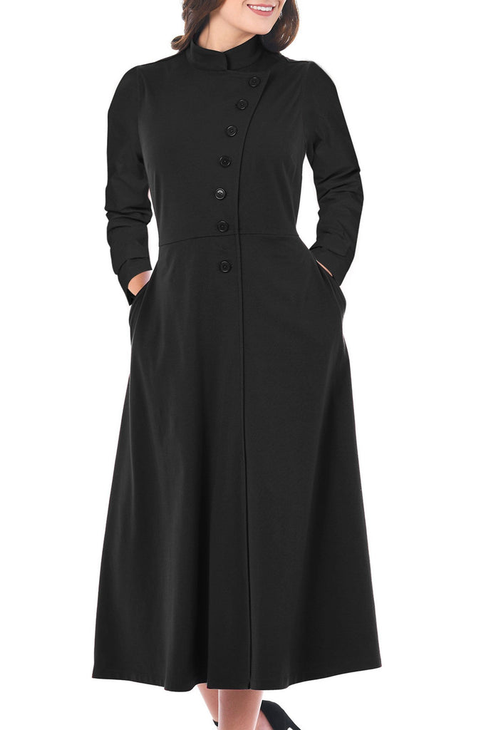 Side Button Mandarin Collar A-line Midi Dress
