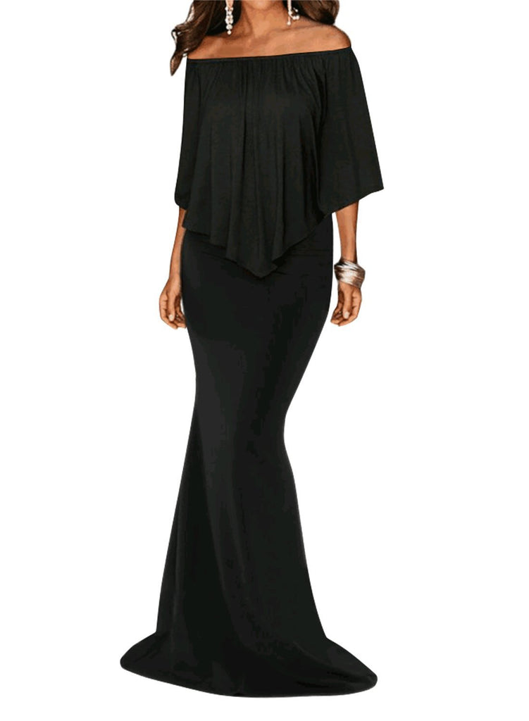 Off Shoulder Overlay Ruffle Evening Dress