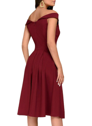 Sleeveless Off Shoulder Midi Dress