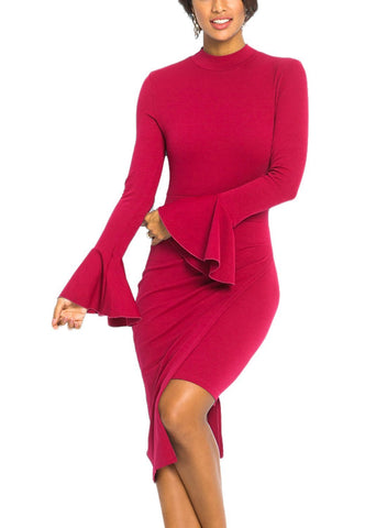 Image of Halter Back Asymmetric Bodycon Dress