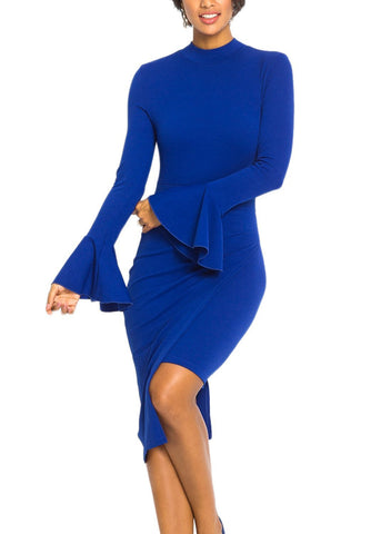 Halter Back Asymmetric Bodycon Dress