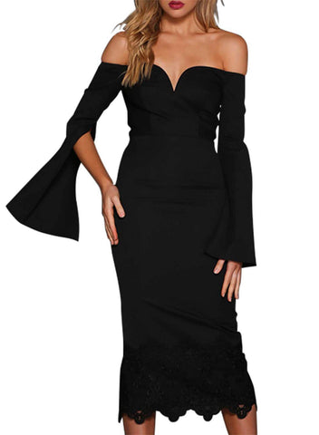 Split Bell Sleeve Off Shoulder Midi Dress