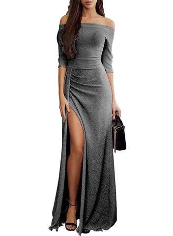 Shiny Off Shoulder Slit Maxi Dress