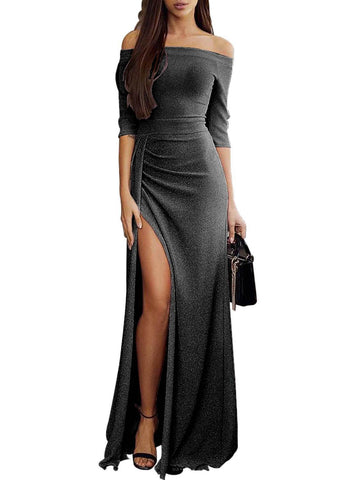 Image of Shiny Off Shoulder Slit Bodycon Dress