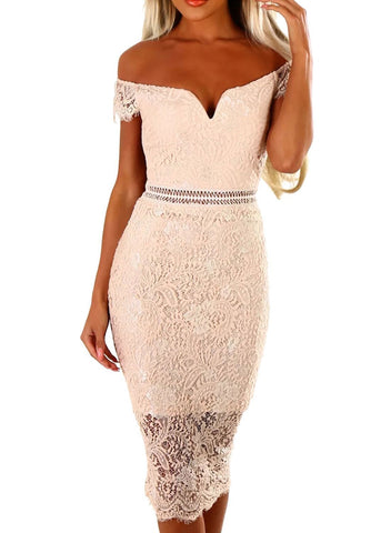 Lace Bardot Midi Dress