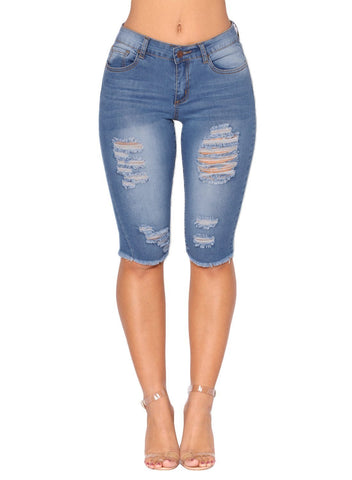 Denim Ripped Destroyed Bermuda Shorts Jeans