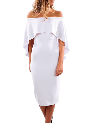 Luxurious Off Shoulder Batwing Cape Dress