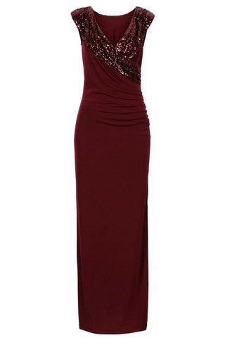Image of Sequin Wrap V Neckline Long Evening Dress