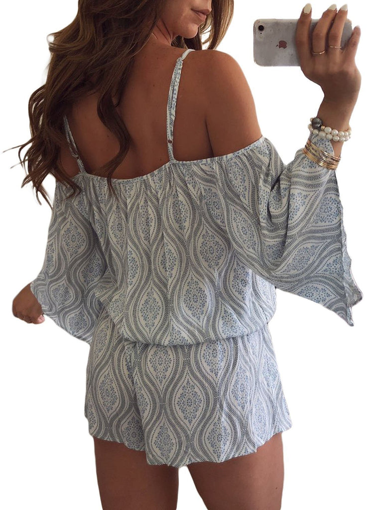 Print Cold Shoulder Tassels Romper